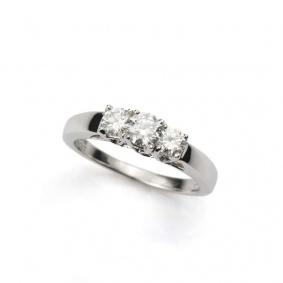 White Gold Round Brilliant Cut Three Stone Ring